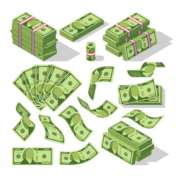 Cartoon money bills. Green dollar banknotes cash vector icons