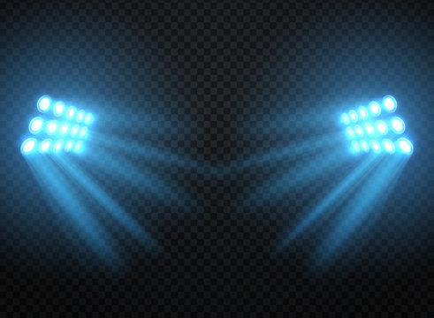 Stadium lights, shiny projectors isolated. Vector spotlight template