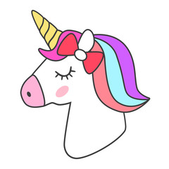 Unicorn icon isolated on white