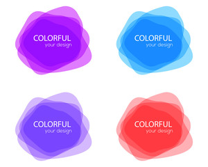 Set of round colorful vector shapes. Abstract vector banners. Design elements. Fun label or tag design