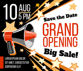 Grand opening ceremonial vector concept with megaphone