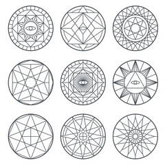 Spiritual alchemy vector symbols. Medieval geometry sacred vector logos