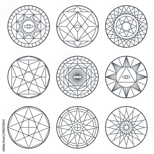 Spiritual Alchemy Vector Symbols Medieval Geometry Sacred Vector