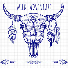 Hand drawn buffalo skull with feathers and arrows - wild adventures poster design