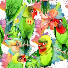 Niebo ptaki małe papugi wzór w faunie przez styl akwarela. Dzika wolność, ptak z latającymi skrzydłami. Aquarelle ptak dla tła, tekstury, wzoru, ramy, granicy lub tatuażu.