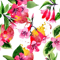 Wildflower weigela flower pattern in a watercolor style. Full name of the plant: weigela. Aquarelle wild flower for background, texture, wrapper pattern, frame or border.