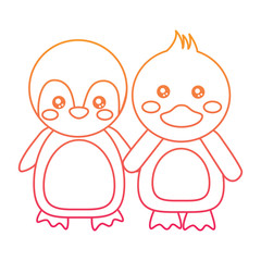 cute animals penguin and duck holding hands vector illustration color line design
