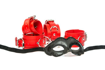 Fetish stuff: mask with red hand cuffs