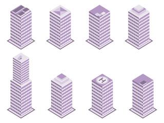 Isometric building set isolated on white background. Vector illustration