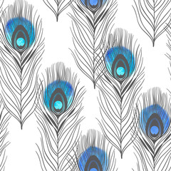 Seamless pattern with peacock feathers and watercolor elements on a white background. Hand-drawn background.