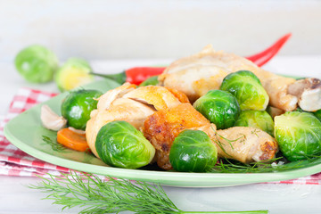 Brussel sprouts with carrot, onion, garlic and dill. Healthy homemade food..