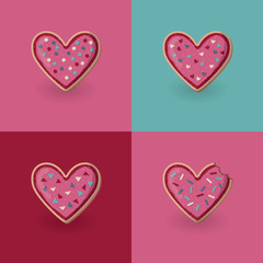 Set of heart shape cookies. Valentine day concept