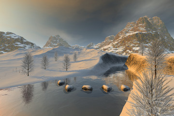 Snowy stones in the river, a winter landscape, reflection on water, trees and a cloudy sky.