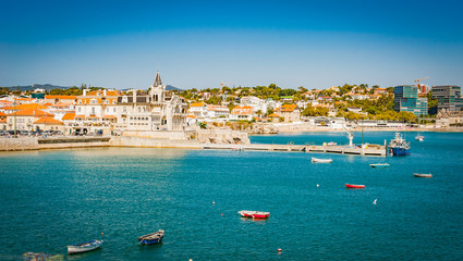 Portugal, Cascais near Lisbon, seaside town with beach and port panorama view
