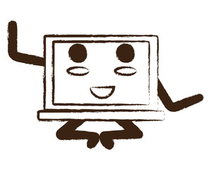 kawaii laptop computer icon