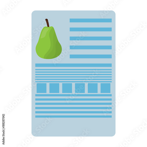 pear nutrition facts label template vector illustration