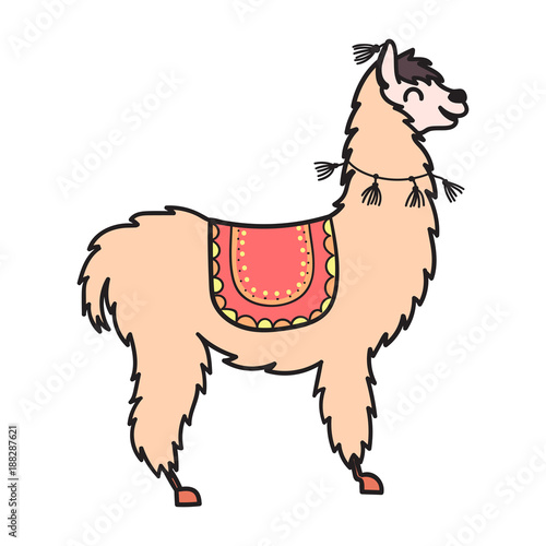 hand drawn peru animal alpaca vicuna stock image and royalty rh fotolia com alpaca clipart black and white alpaca clipart free