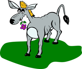 painted gray donkey with flower in mouth stands on green lawn