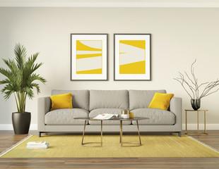 Classic elegant luxury yelliw interior with a grey sofa