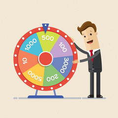 Businessman with Fortune's wheel. Business concept. Vector, illustration, flat