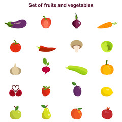Vector illustration of different fruits and vegetables icons