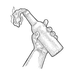 Male hand holding Molotov Cocktail. Engraving vintage vector illustration.