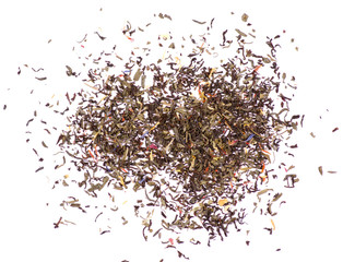 Pile leaf tea with flowers and fruits