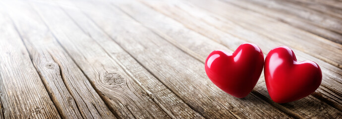 Couple Of Hearts In Love On Vintage Wooden Table - Valentines Day