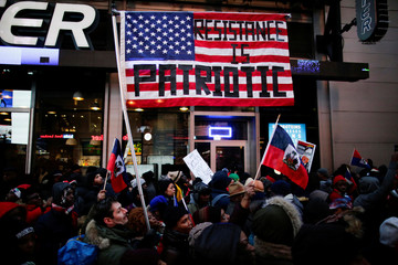 People participate in the Martin Luther King Jr. Day march starting from Times Square in New York City