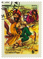 """Illustration from fairy tale """"The fool"""" on postage stamp"""