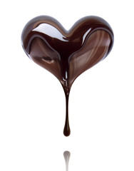 Candy in the shape of heart is poured with chocolate