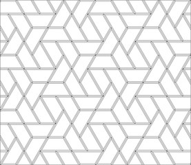 Vector seamless pattern. Hexagon and triangular stick tiles with boards. Modern stylish texture with monochrome trellis. Simple graphic design.