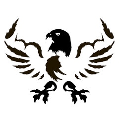Eagle with muscles vector icon. Strong falcon predatory bird with open spread wings and sharp clutches. Can be used for logo, emblem and etc.