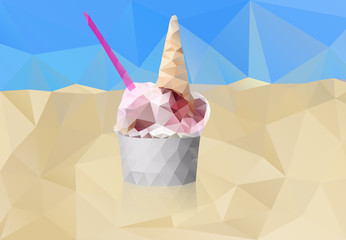 One isolated polygonal gelate icecreame with spoon. Modern triangle geometric style