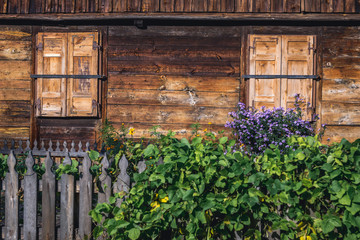 Close up on old wooden traditional house in heritage park of Kampinos Forest in Poland