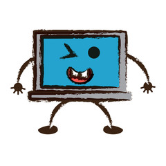 kawaii laptop computer icon