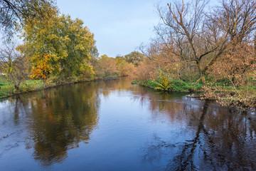 Bzura River in Masovia region of Poland