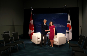 Canada's Minister of Foreign Affairs Chrystia Freeland holds a bilateral meeting with the South Korean Minister of Foreign Affairs Kang Kyung-wha in Vancouver