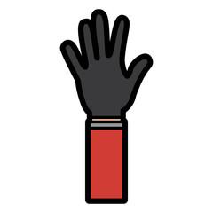 hand wearing glove icon image vector illustration design