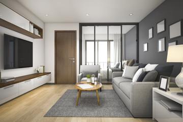 3d rendering modern minimal wood living room and bedroom in apartment