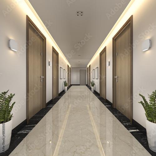 """""""3d Rendering Modern Luxury Wood And Tile Hotel Corridor"""