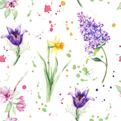 Seamless floral pattern with beautiful spring flowers, Anemone, Narcissus, Daffodil, Lilac. Watercolor painting