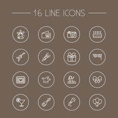 Set Of 16 Cocktail Outline Icons Set.Collection Of Party, Bow, Pastry And Other Elements.