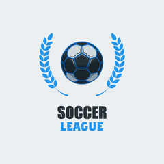 Soccer Football Logo Template. Modern Sport Ball Emblem with Leaves Design on a Light Background