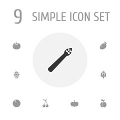Set Of 9 Vitamin Icons Set.Collection Of Sparrow Grass, Gourd, Herbaceous And Other Elements.