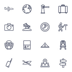 Set Of 16 Journey Outline Icons Set.Collection Of Awning, Certificate, Palm And Other Elements.