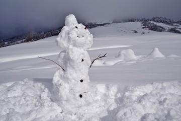 雪だるまを作って遊ぶ子供たち