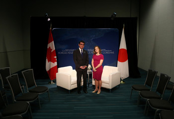 Canada's Minister of Foreign Affairs Chrystia Freeland holds a bilateral meeting with the Japan's Minister of Foreign Affairs Taro Kono in Vancouver