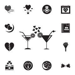 cocktail with hearts icon. Set of Valentine's Day elements icon. Photo camera quality graphic design collection icons for websites, web design, mobile app
