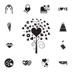 love tree with hearts icon. Set of Valentine's Day elements icon. Photo camera quality graphic design collection icons for websites, web design, mobile app